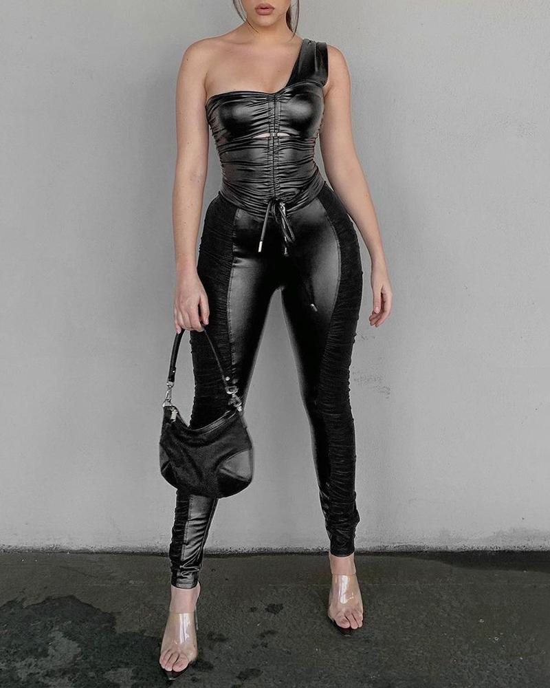 PU Leather Ruched One Shoulder Top & Skinny Pants Set