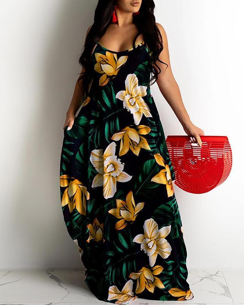 Floral Leaf Print Spaghetti Strap Maxi Dress