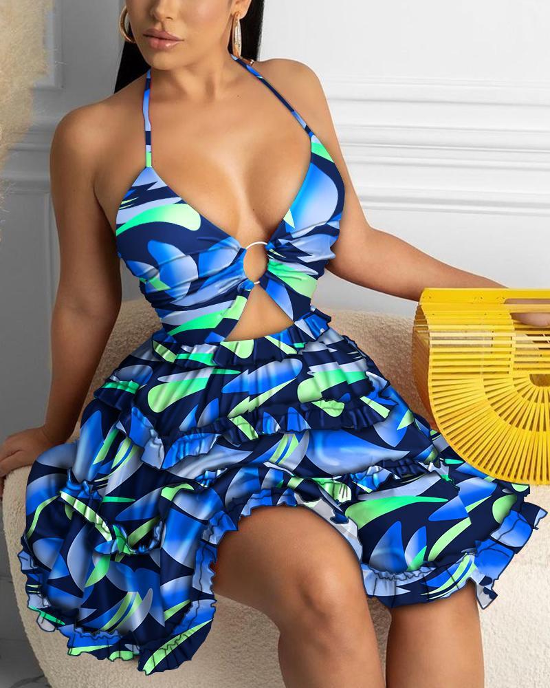 Cami Open Front Frill Hem Floral Print Dress