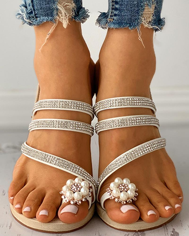 Beaded Toe Ring Studded Flat Sandals