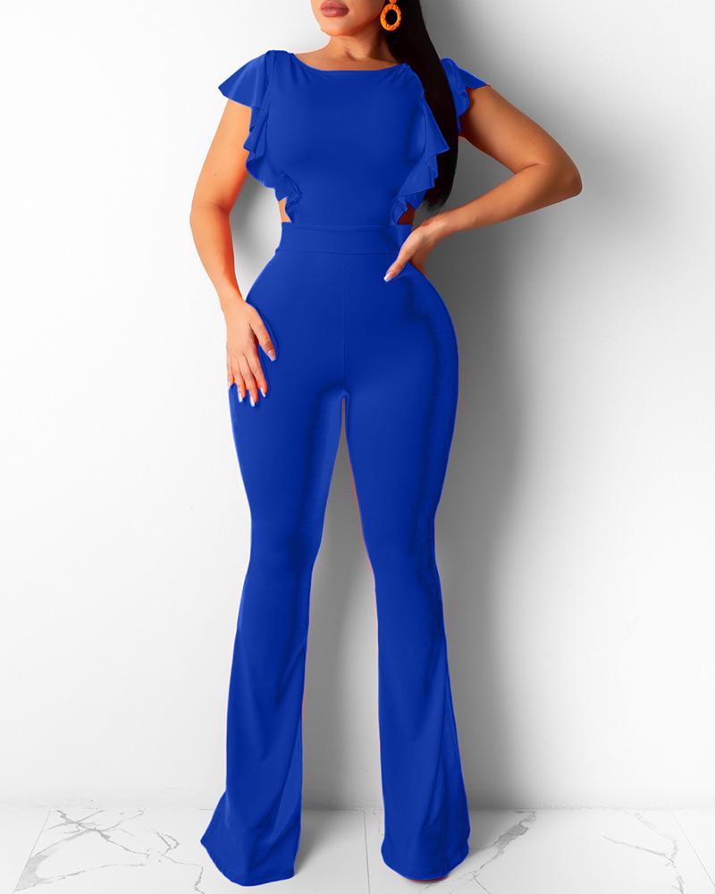 Ruffle Hem Backless Cutout Bootcut Jumpsuit, Blue