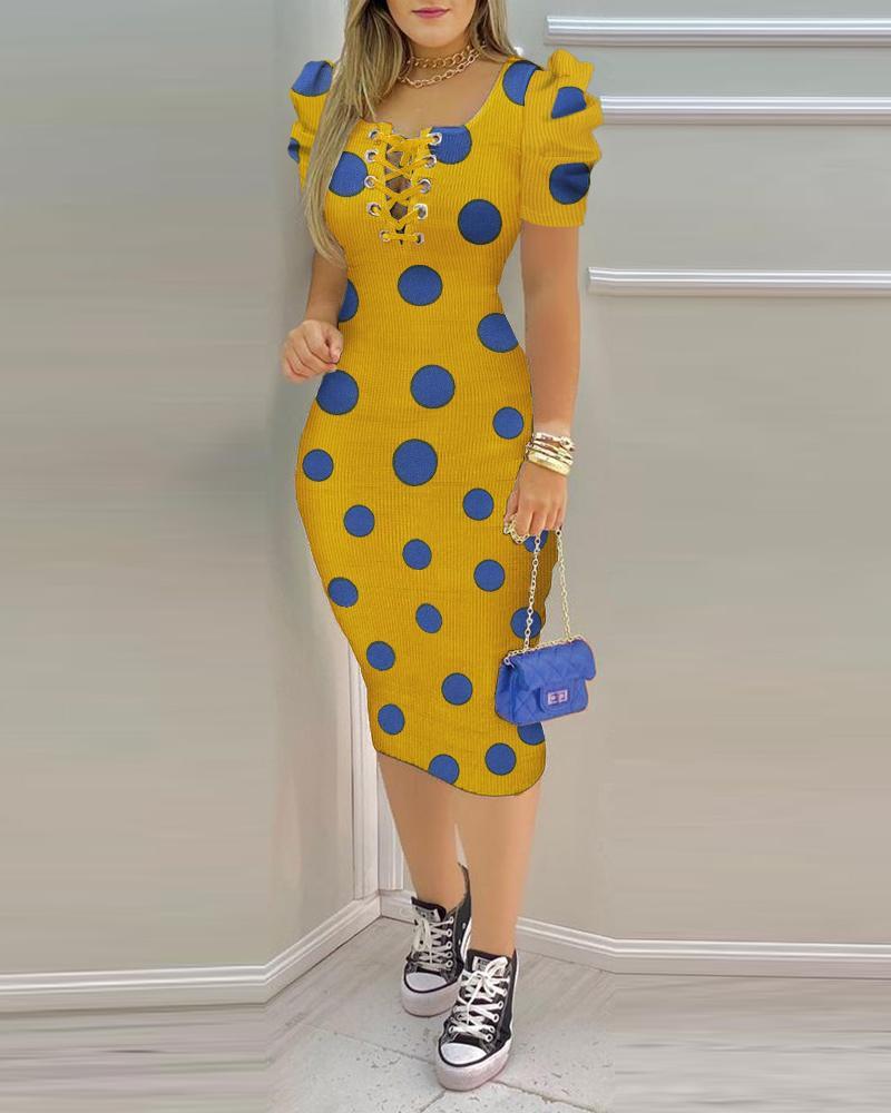 Polka Dot Print Puffed Sleeve Eyelet Lace Up  Bodycon Dress