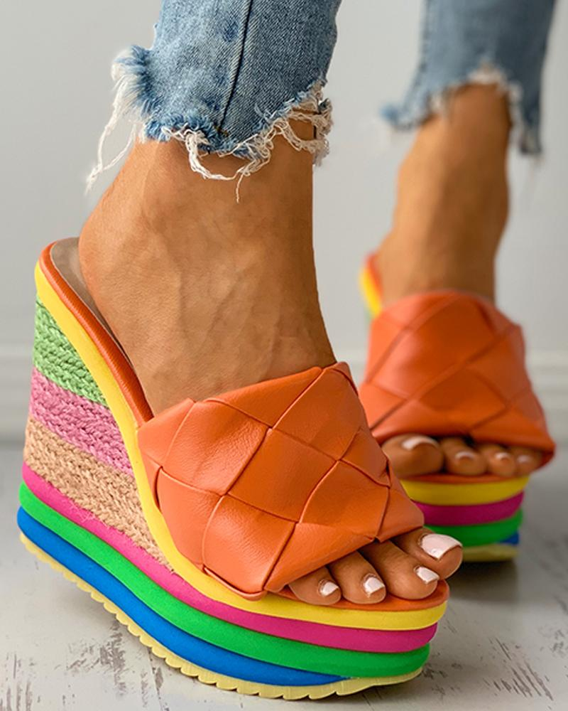 Quilted Colorful EspadrilleWedge Sandals