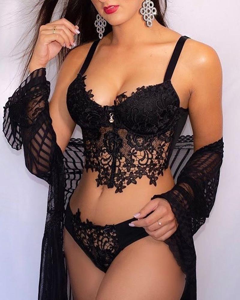 Crochet Lace Bra Top & Panties Set