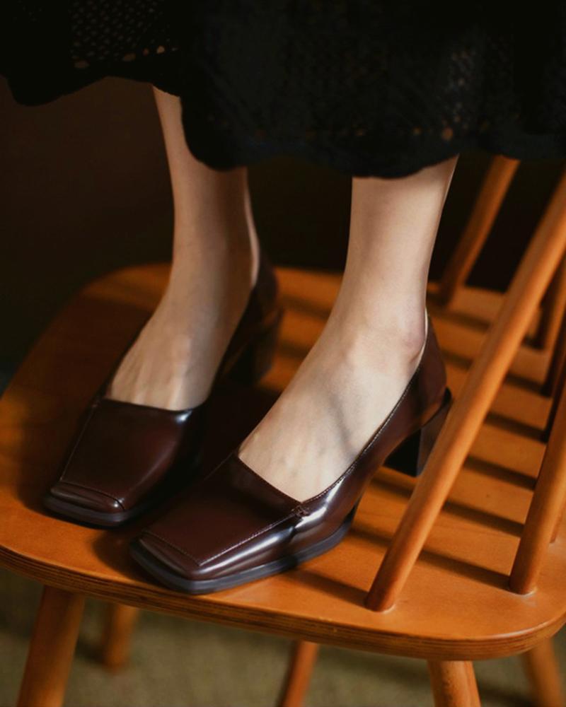 Square Toe Casual Slide Chunky Heels