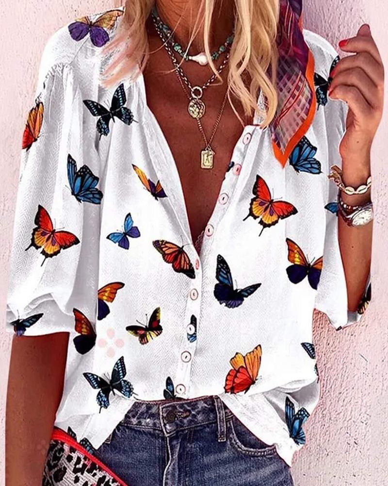 Butterfly Print Long Sleeve Casual Shirt thumbnail
