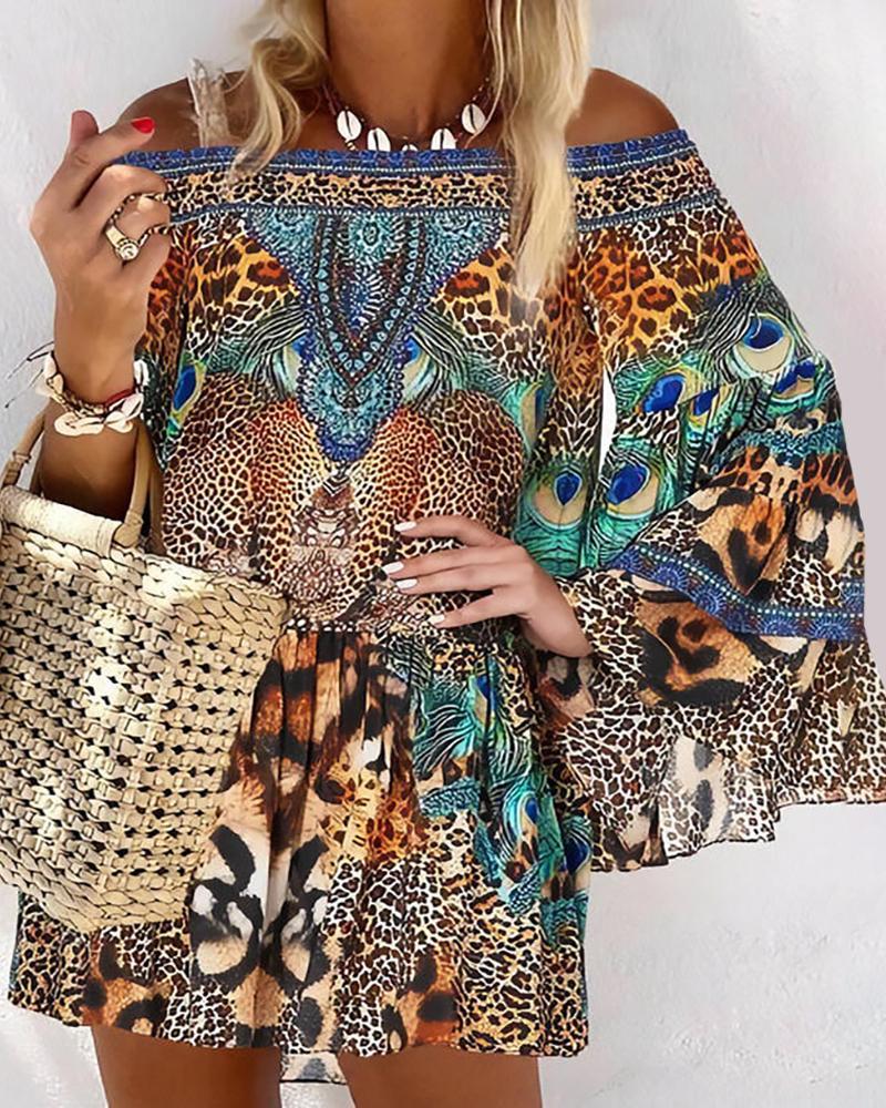 Off Shoulder Animal / Leopard Print Long Sleeve Dress