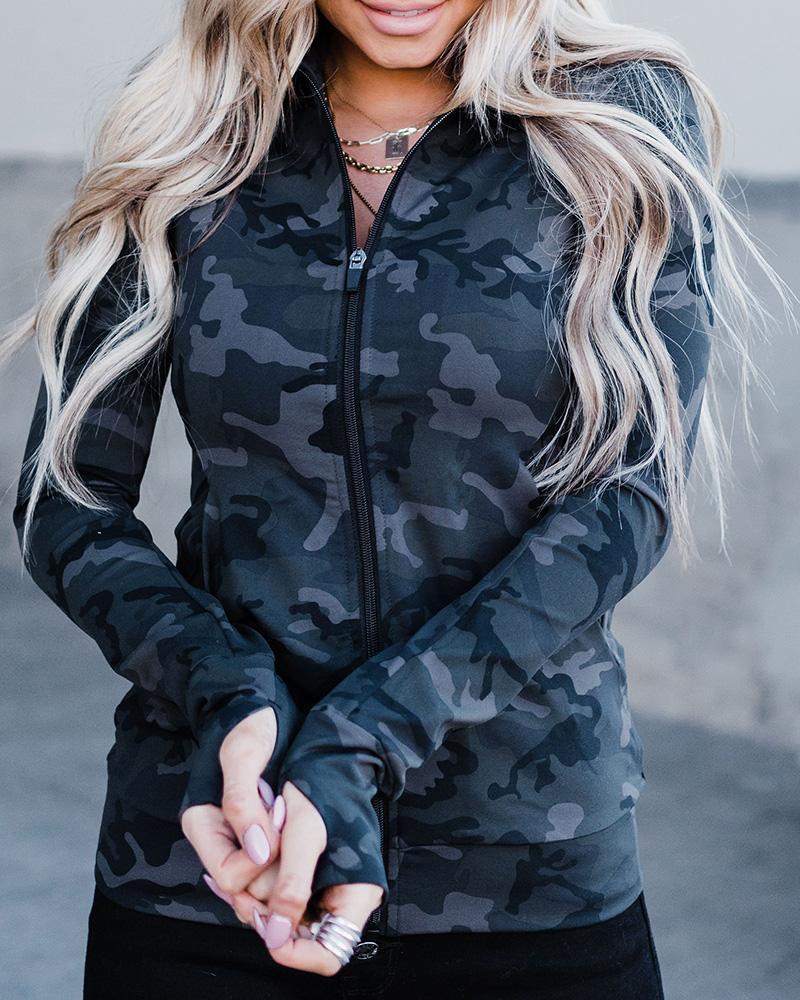 Long Sleeve Zipper Pocket Design Camouflage Print Coat