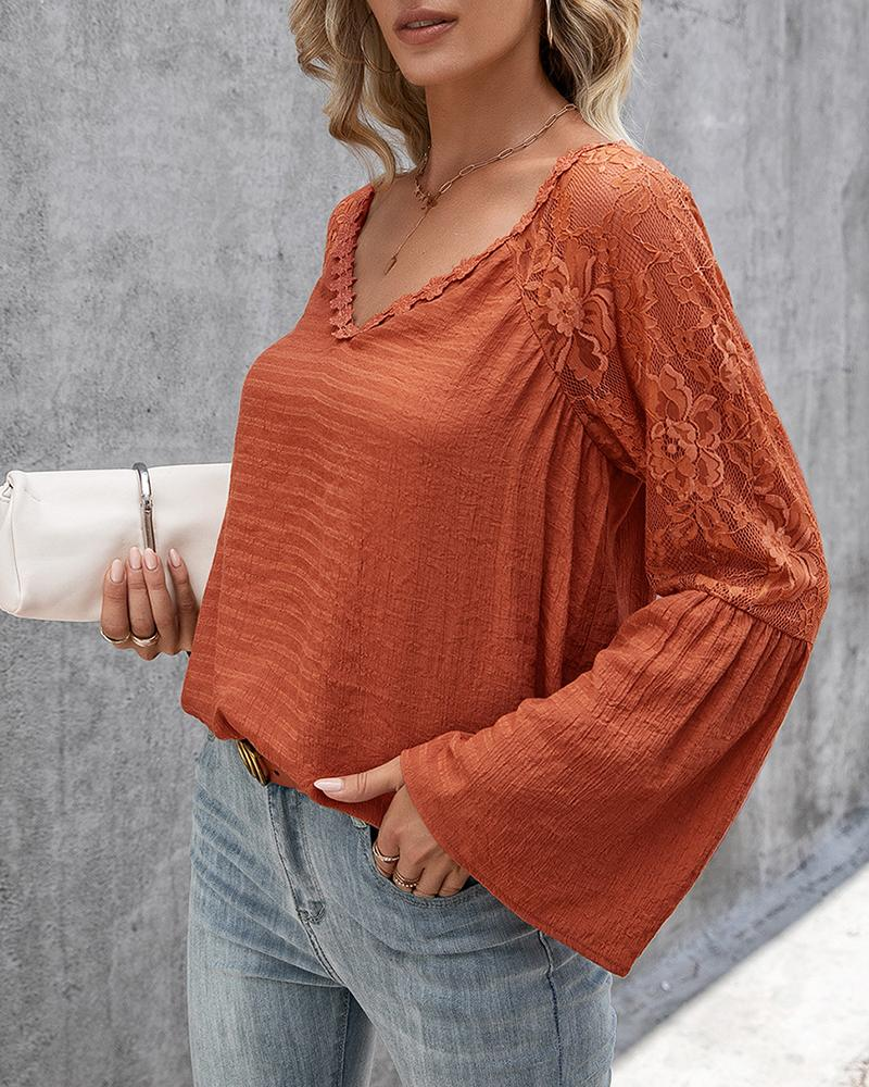 Crochet Lace Bell Sleeve V Neck Top