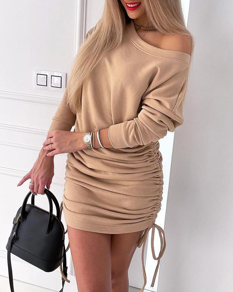 Drawstring Ruched Long Sleeve Casual Dress
