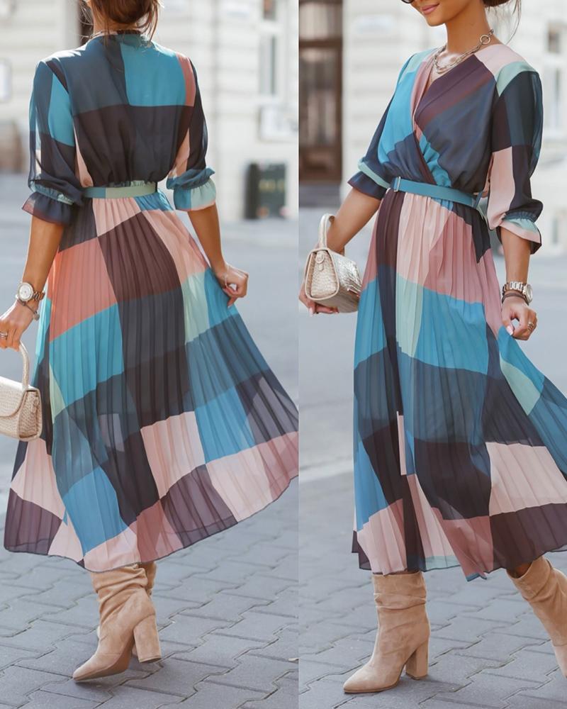 Plaid Print Colorblock Pleated Casual Dress
