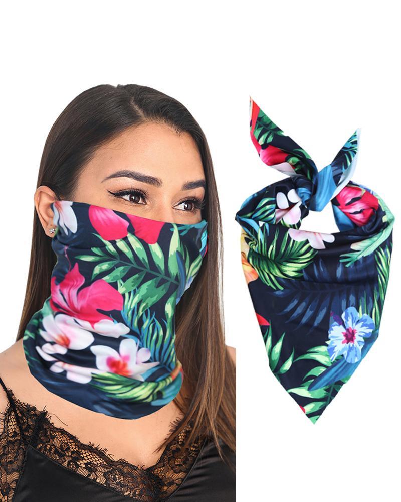 12PCS Palmtree Print Breathable Bandanas Head Wrap