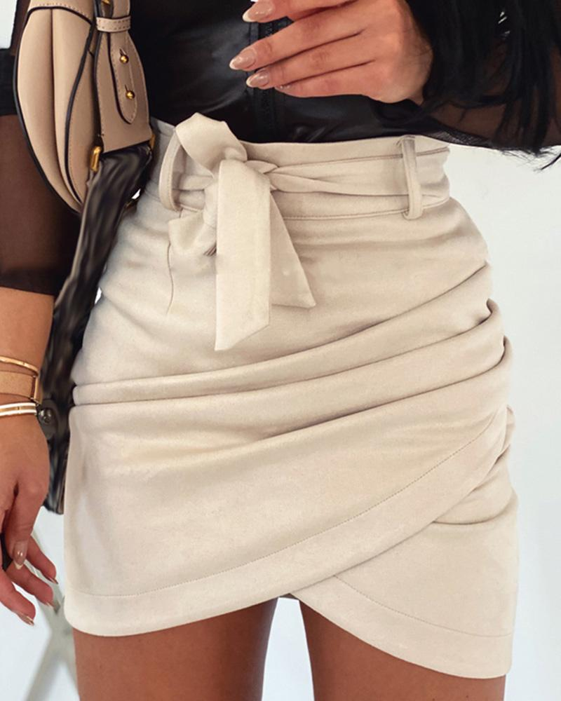Suede Ruched Lrregular Mini Skirt thumbnail