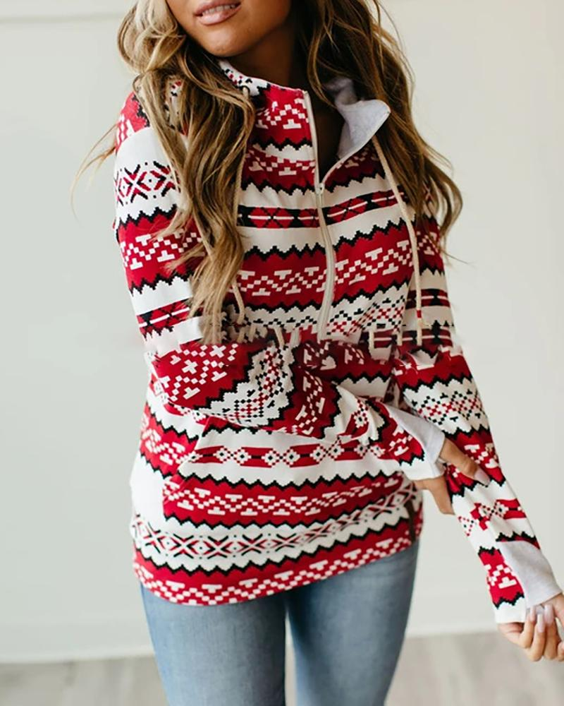 Christmas Mixed Print Zipper Pocket Design Hoodie