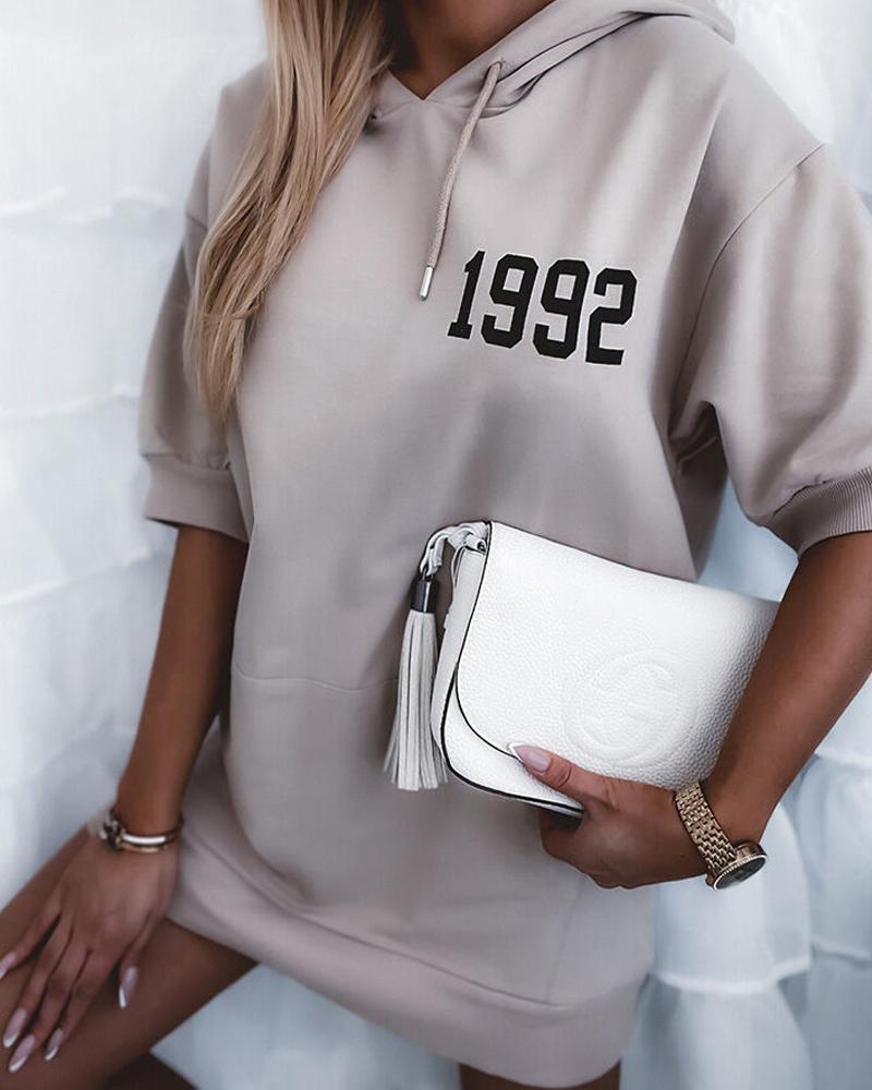 Hooded Letter Print Pocket Design Casual Dress