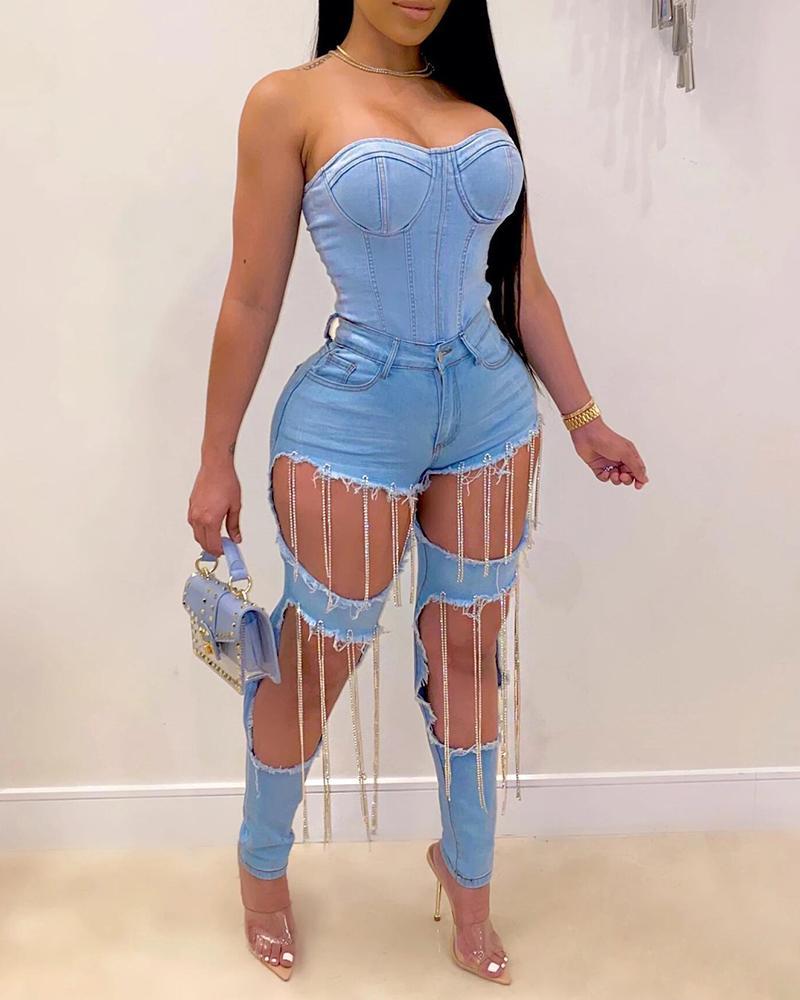 Cutout Studded Tassel Design Denim Pants