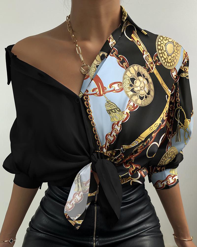 Chain Print Button Design Lantern Sleeve Shirt thumbnail