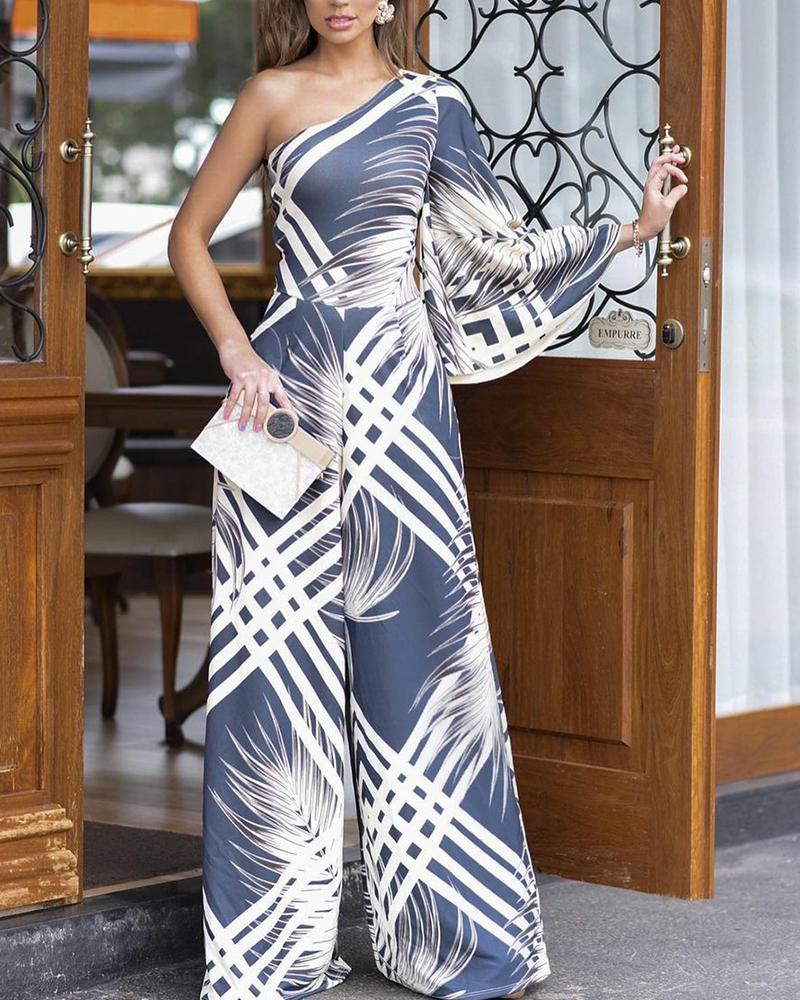All Over Print One Shoulder Wide Leg Jumpsuit Elegant Work Jumpsuit