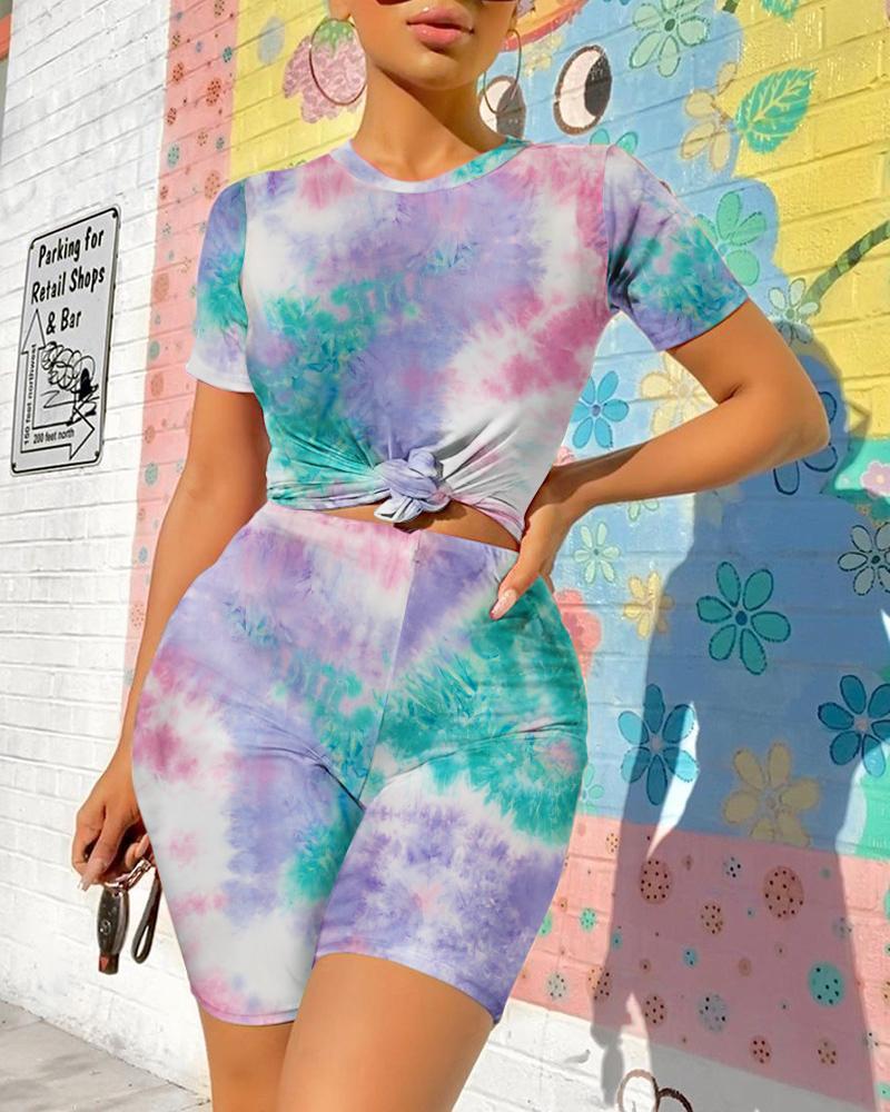 Tie Dye Print Skinny Top & Shorts Set