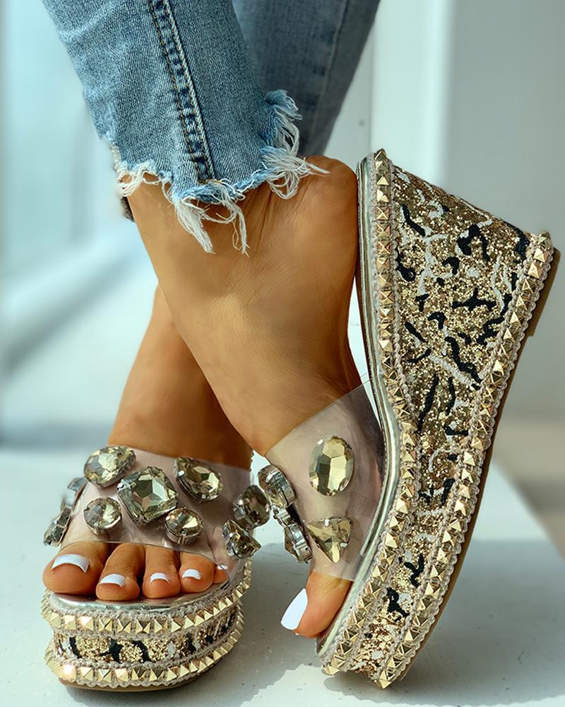 Open Toe Studded Rivet Heeled Sandals thumbnail