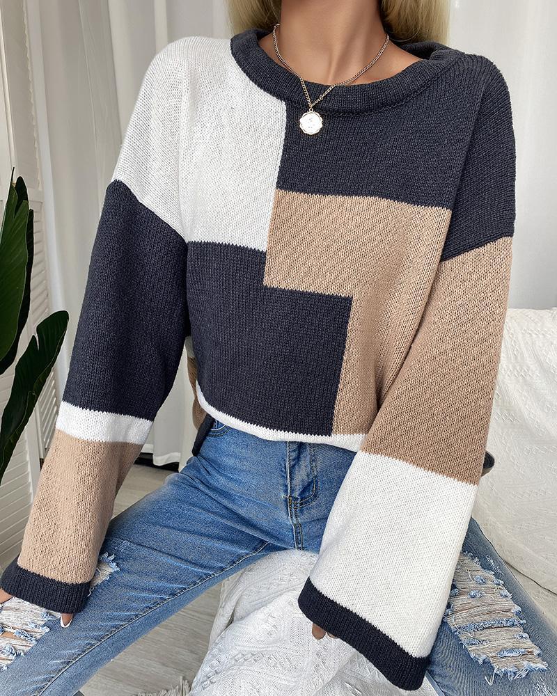 Colorblock Bell Sleeve Drop Shoulder Sweater