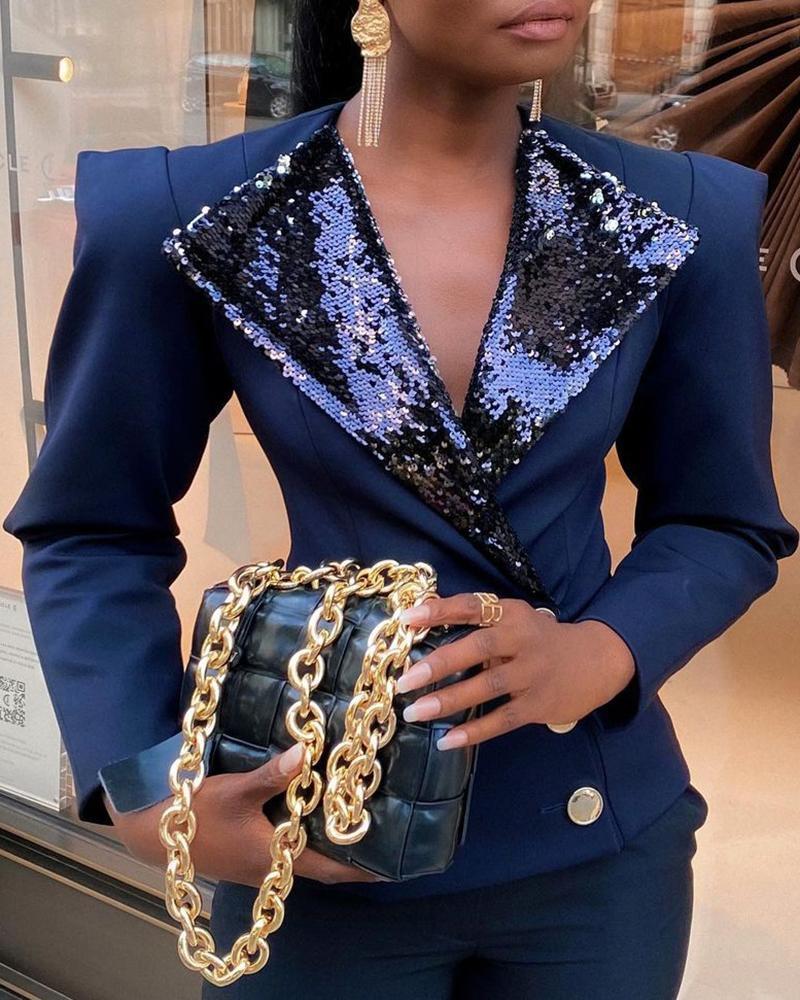 Long Sleeve Buttoned Sequins Blazer Coat