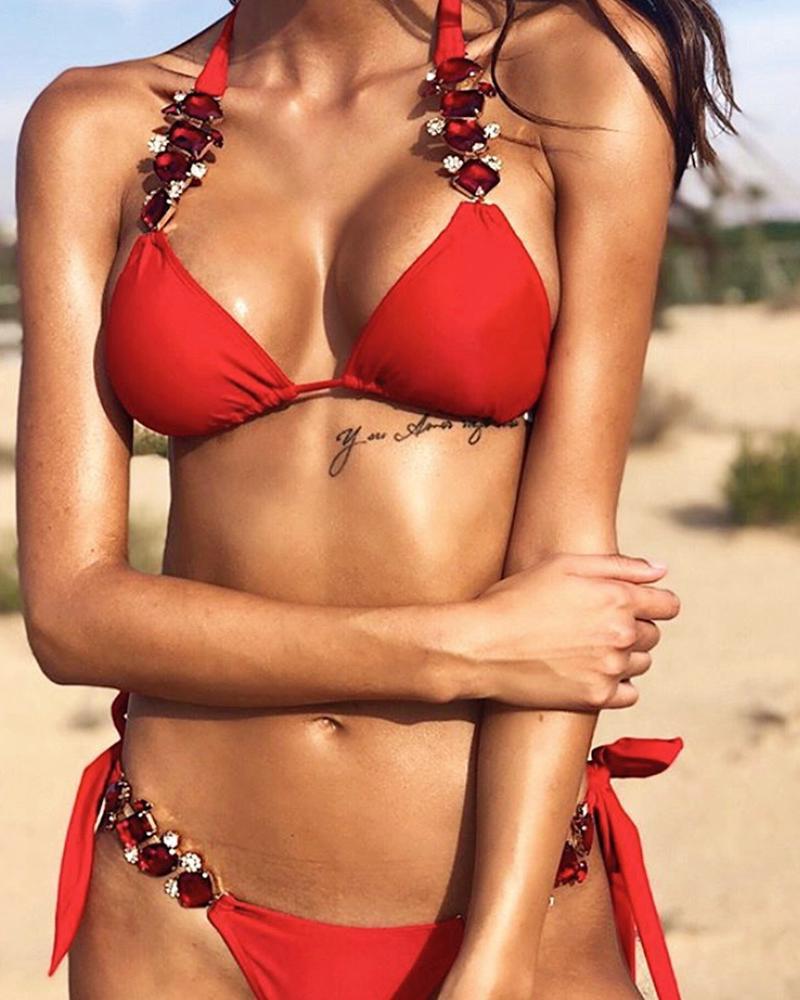 Ivrose coupon: Halter Tied Detail Rhinestone Decor Bikini Set