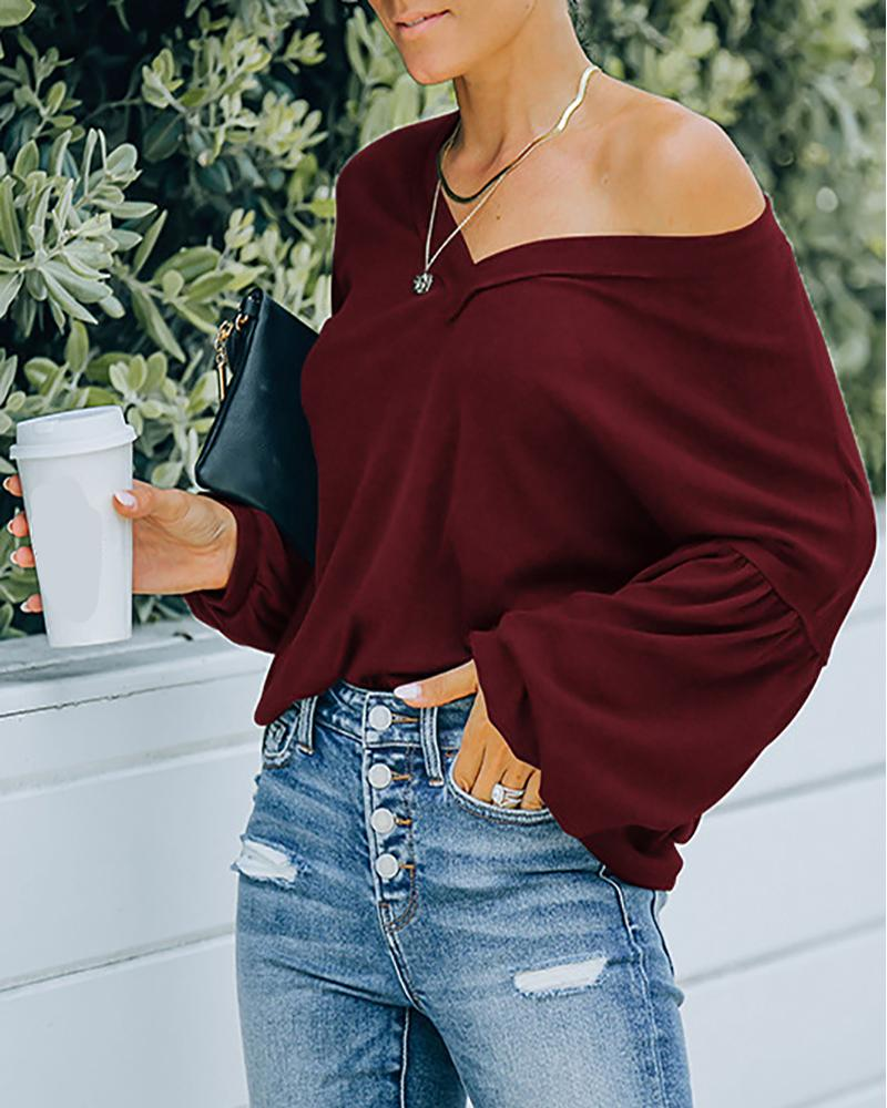 Lantern Sleeve V Neck Casual Top, Wine red
