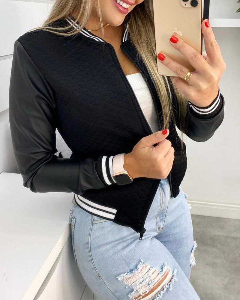 Striped Print Zip Front PU Leather Patch Baseball Coat