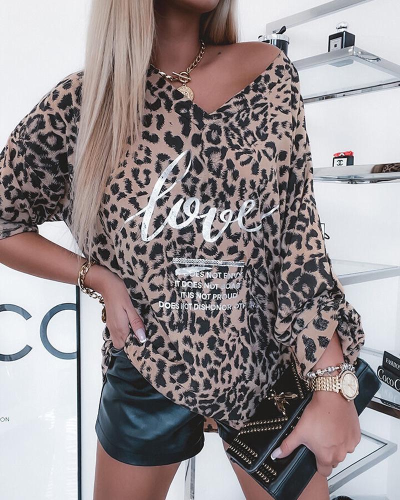 Leopard Letter Print Long Sleeve Top