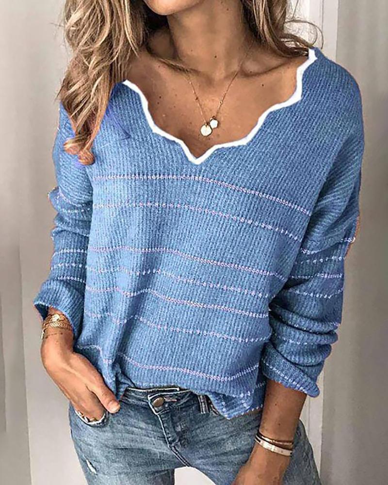 Contrast Binding Striped Long Sleeve Sweater