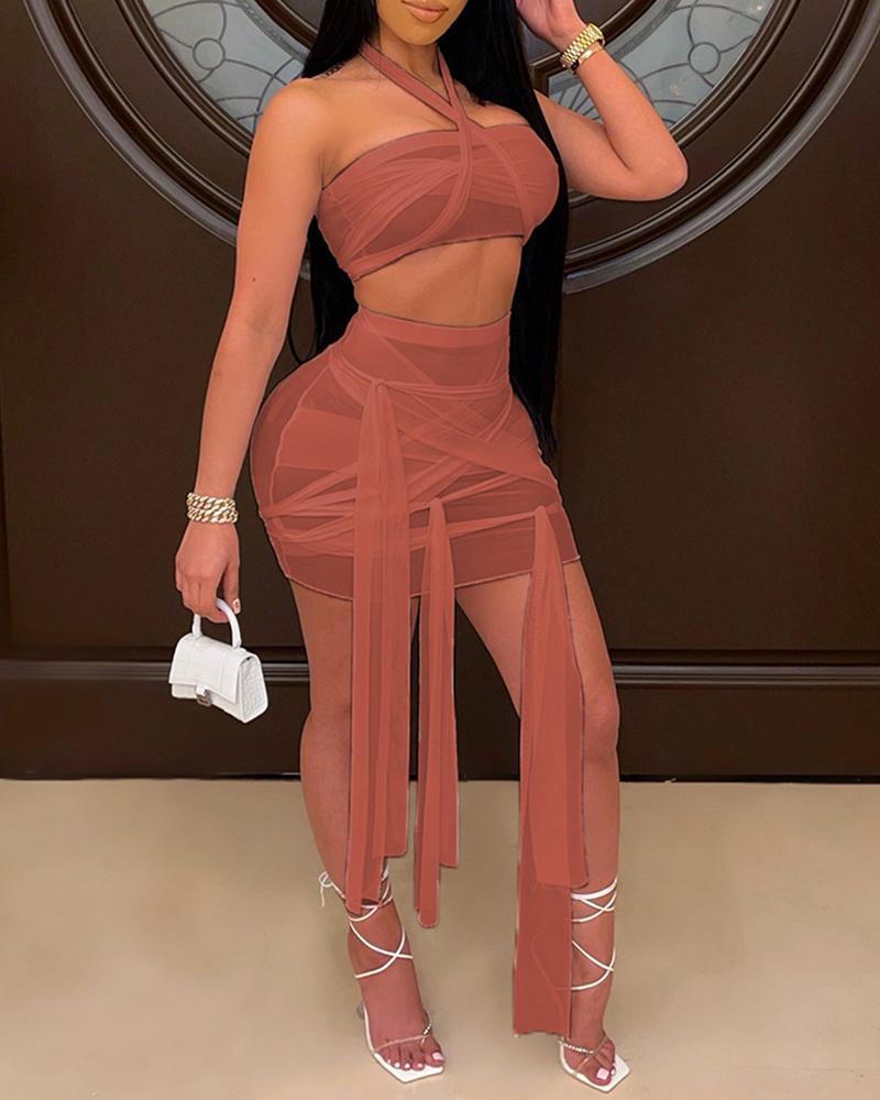 Halter Sheer Mesh Crop Top & Knotted Skirt Set thumbnail