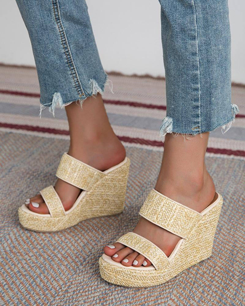 Solid Double Banded Upper Wedge Shoes Sandals