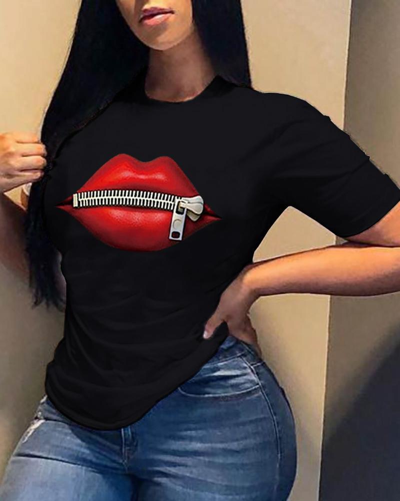 Zipper Lip Print Short Sleeve T-Shirt