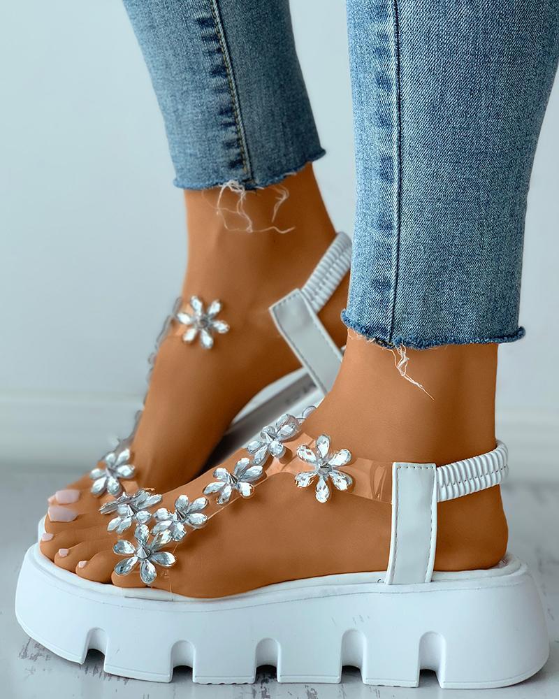 Sandalias de plataforma plana de metacrilato transparente con diamantes de imitación floral
