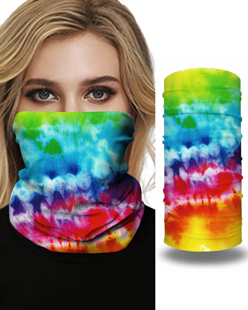 Tie Dye Grid Print Colorblock FaceBandana Magic Scarf Headwrap Balaclava