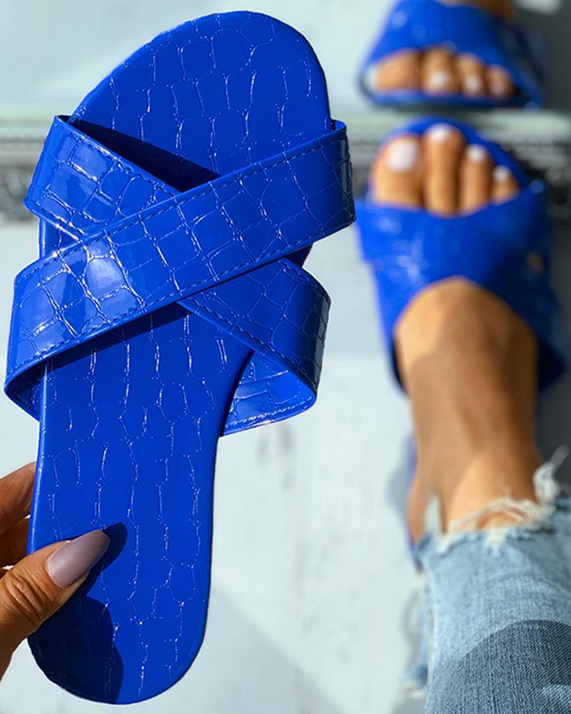 Croc Embossed Bandage Peep Toe Flat Sandals thumbnail