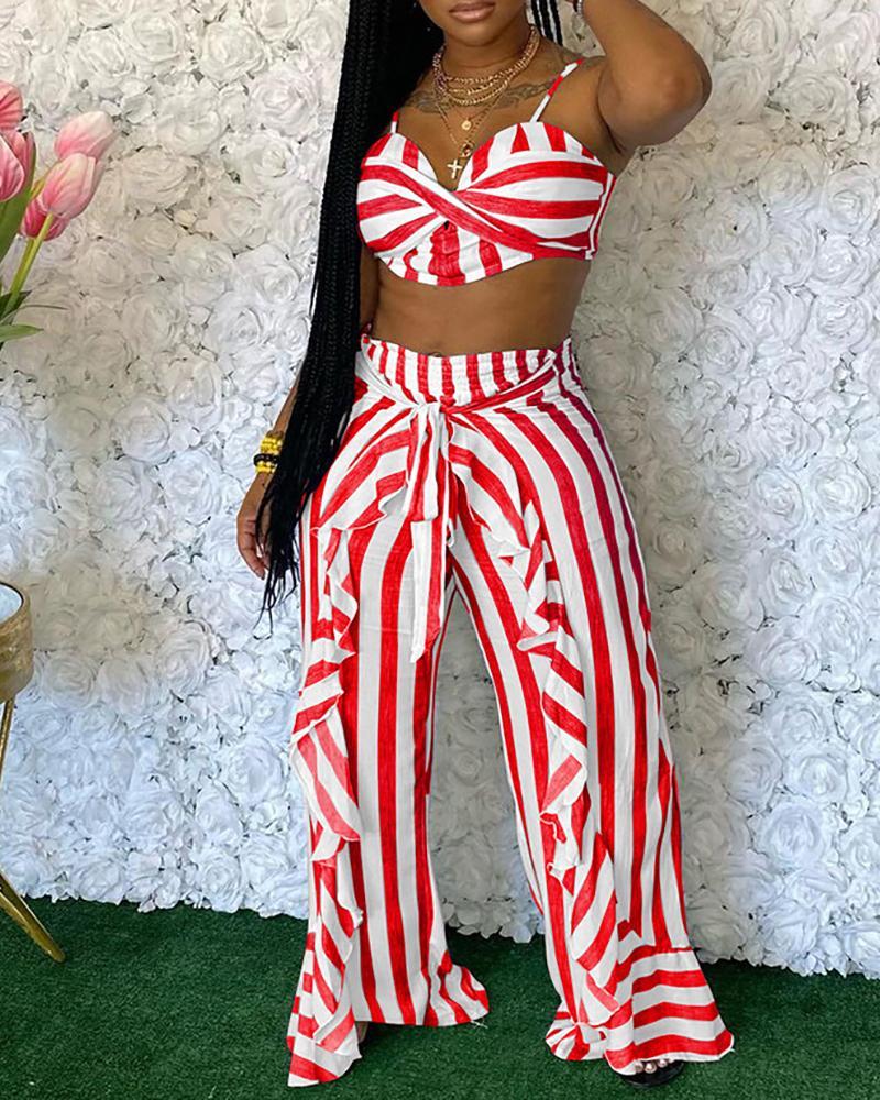 Striped Crop Top & Ruffle Hem Pants Set
