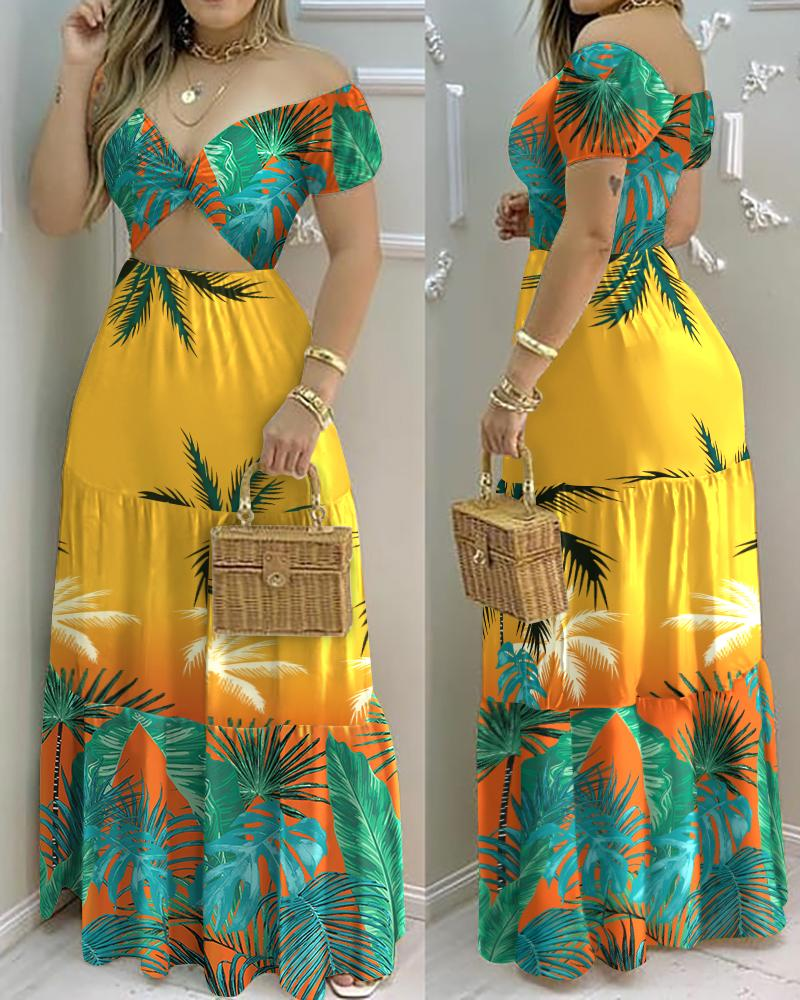 Vacation Style Floral Print Dress