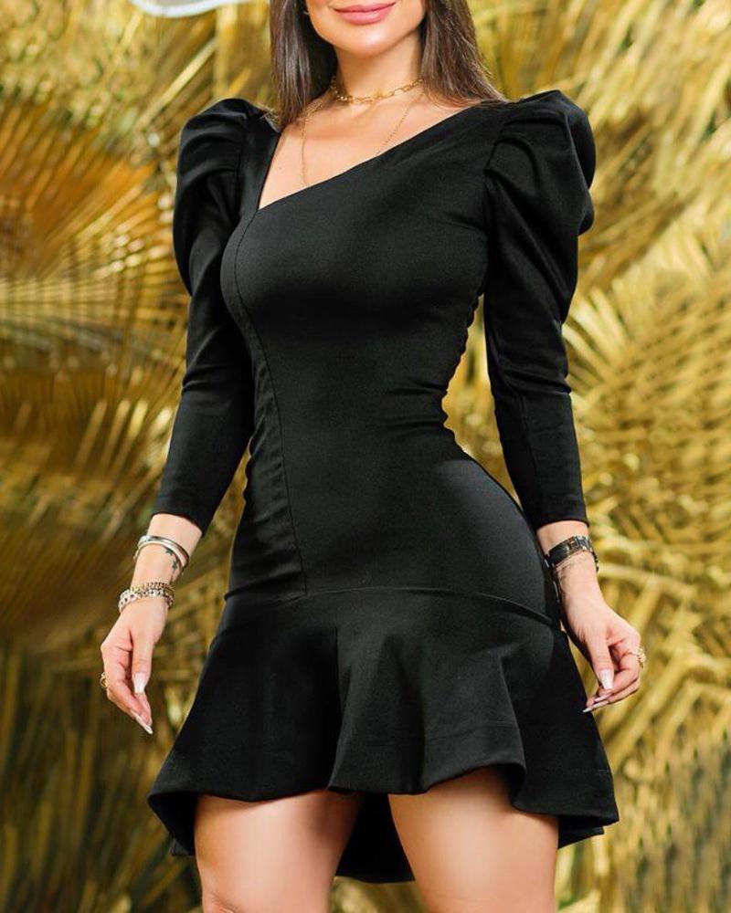 Puff Sleeve Ruffle Hem Asymmetrical Neck Dress Long Sleeve Cocktail Dress Party Dress