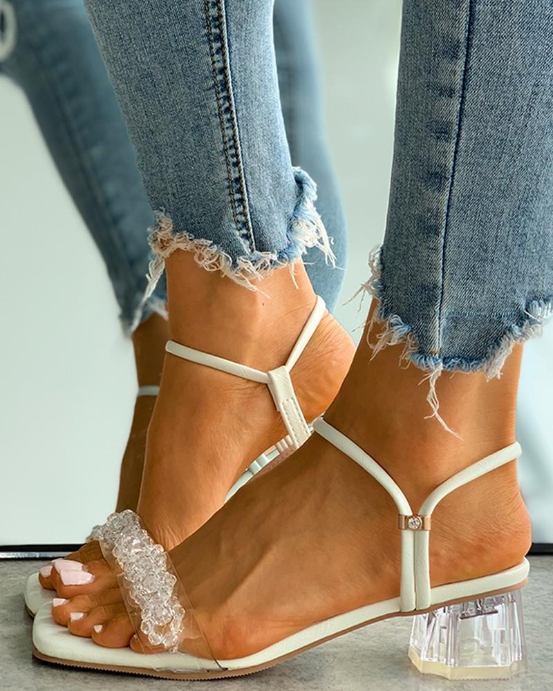 Square Toe Beaded Clear Perspex Chunky Heels