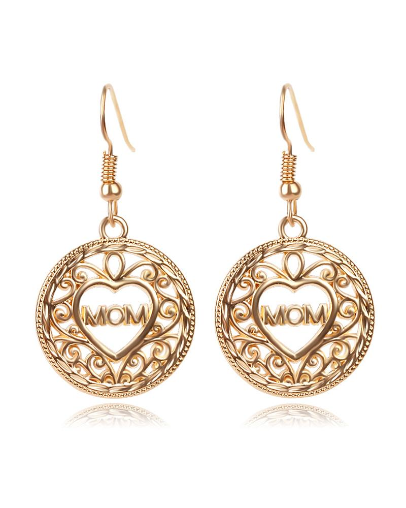 1Pairs Letter Round Shaped Drop Earrings