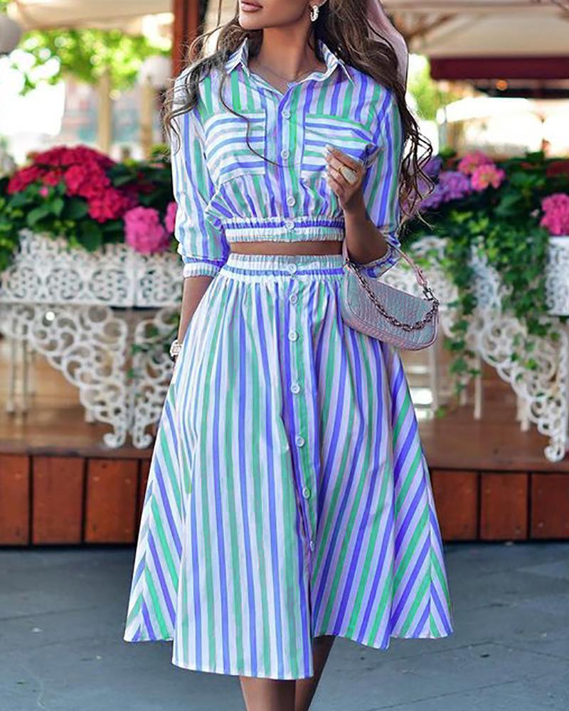Striped Print Button Pocket Design Shirt & Skirt Sets