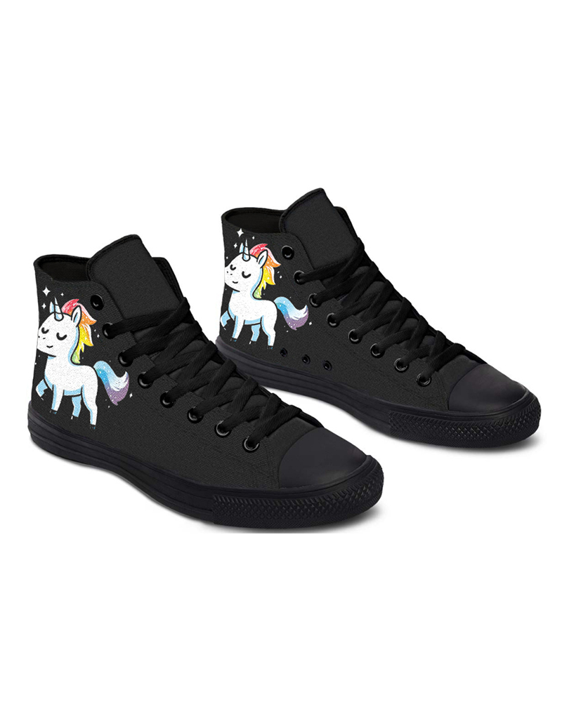 Womens Unicorn Print Round Toe Lace-up High Top Canvas Casual Shoes, Black
