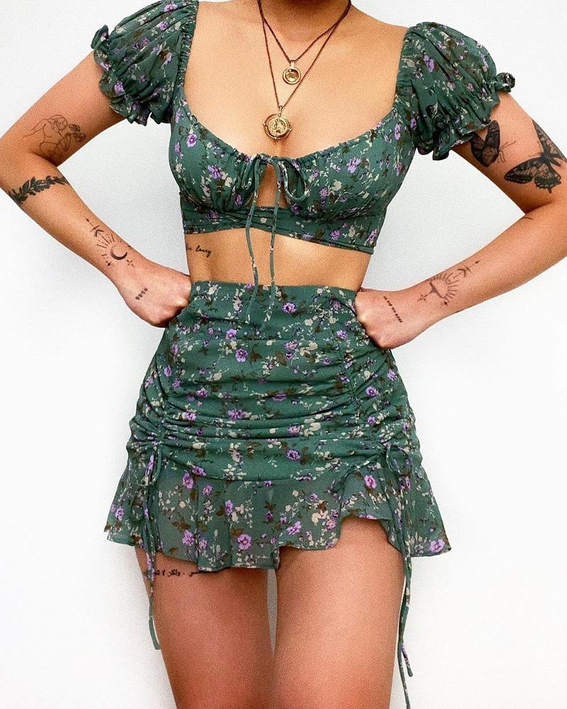 Floral Print Cut-out Puff Sleeve Cropped Top With Short Skirt Skirt Sets
