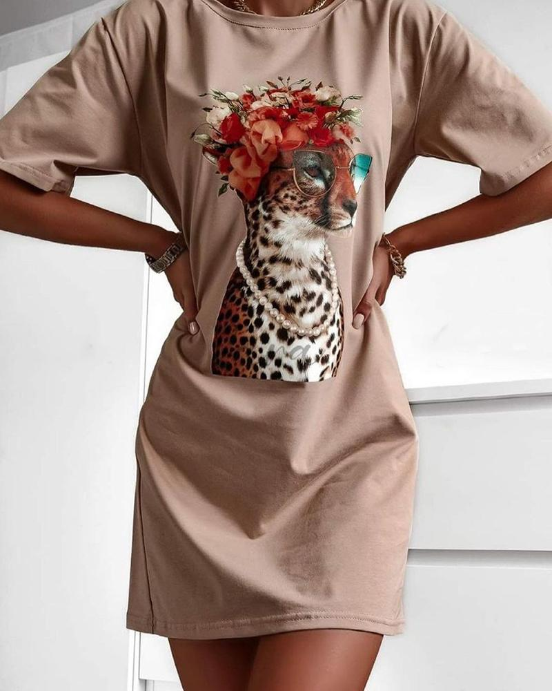 Animal Print Short Sleeve Casual Dress