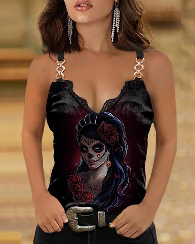 Skull / Floral / Figure Print Chain Strap Lace Trim Top
