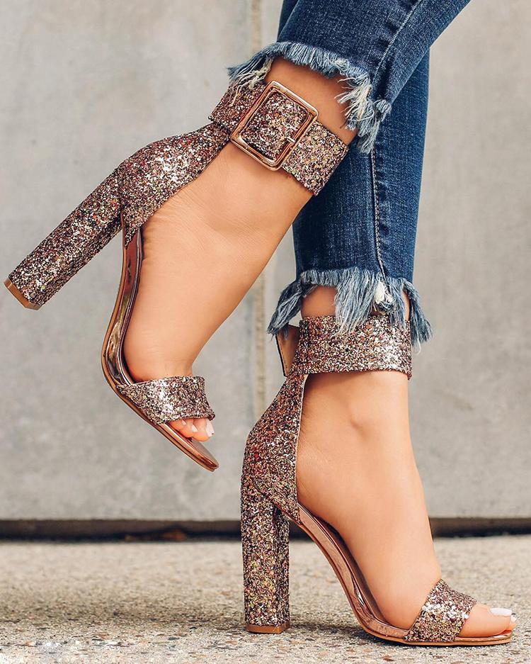 Stylish Sequin Open Toe Chunky Heeled Sandals