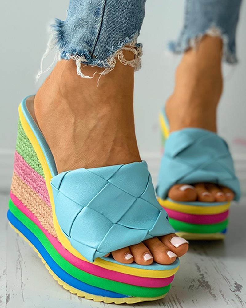 Quilted Colorful EspadrilleWedge Sandal