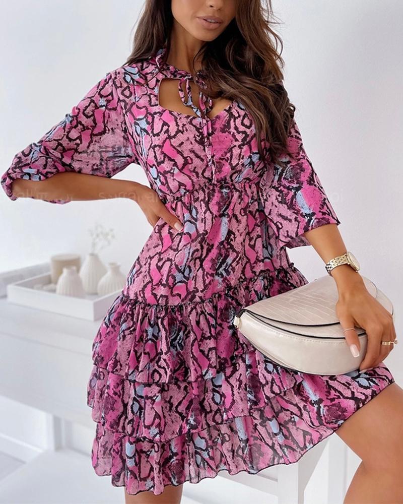 Snakeskin Print Cut-out Ruffle Hem Skinny Waist Long Sleeve Mini Dress, Hot pink